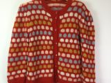 Vintage 1990s Red Pastel Mohair Hand Knit Cardigan