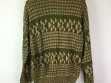 Vintage 1980s Green Geometric Knitted Jumper