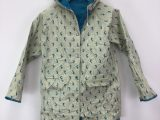 Vintage 1990s Small Reversible Blue Whale Pattern Teal Fisherman's Raincoat