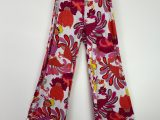 Vintage 1960s Pink & White Paisley High Waisted Flares – 30×32