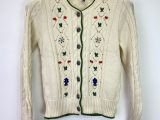 Vintage Austrian Pfister Zillertaler Strickmoden Cream Floral Embroidered Cable Knit Cardigan – Small